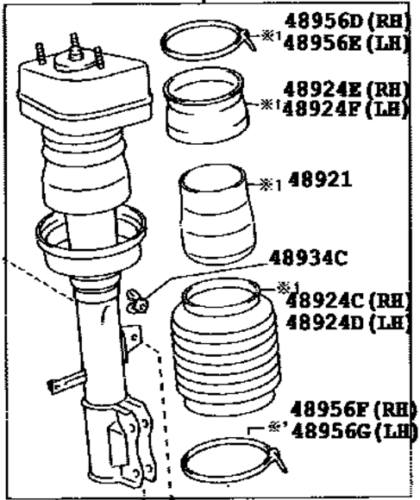 NEW GENUINE LEXUS RX300 RX330 RX350 LEFT FRONT SHOCK